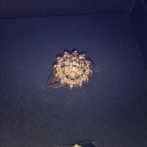 TRUBRITE Vintage 19 Diamond 14k Cluster Ring